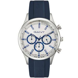 Gant-GTAD09100299I-Ridgefield-Chronograph-silber-blau-Silikon-Herren-Uhr-NEU