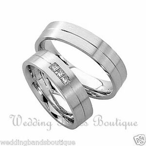 Image Is Loading 10k White Gold His Hers Matching Wedding Bands