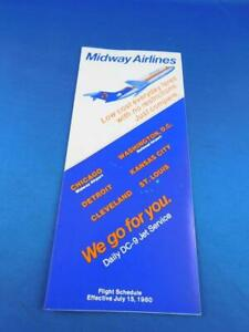 MIDWAY-AIRLINES-TIMETABLE-SCHEDULE-JULY-1980-DAILY-DC-9-JET-SERVICE-CHICAGO