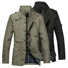 Mens Jacket Fashion Warm Winter Casual Coat Overcoat Outwear Black Military Zip