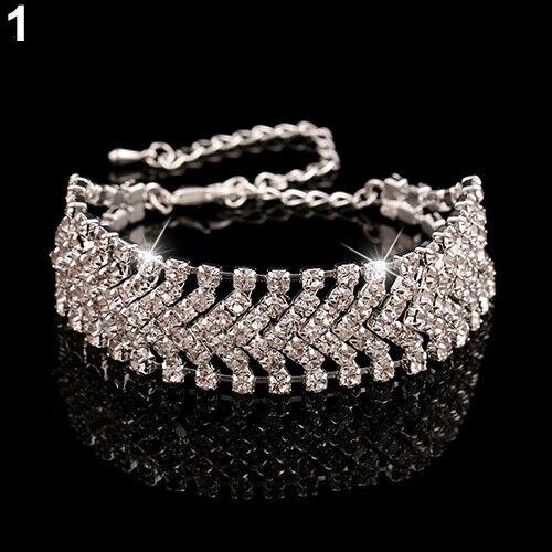 Multicouche Strass Mariage Fête Wrap Cuff Bangle Chaîne Bracelet Bluelans