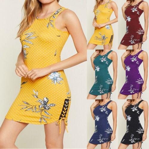 Damen Stretch Strandkleid Träger Top Sommerkleid Minikleid Ärmellos Bodyconkleid