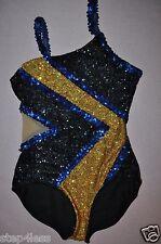New adult size medium Glamour sequin Leotard Bodysuit  twirl Black Gold, Navy