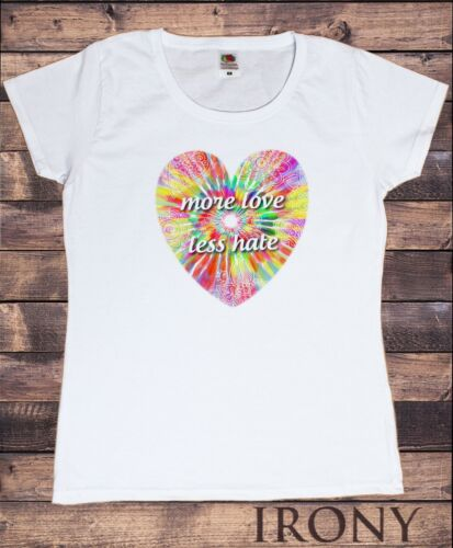 Women T-shirt More Love Less Hate Tropical Heart Floral Pattern TS1442