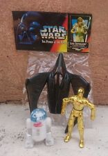 "MEXICAN STAR WARS BOOTLEG 3 3/4"" C3PO & R2D2 & SHIP FIGURES WITH OP MEXICO"
