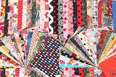100g Bundle Pack Cotton Fabric Floral Retro Mixed JobLot Offcut Remnant Scrap R3