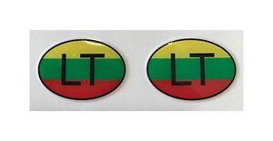 LT-LITUANIA-Interior-Muneca-2x-Pequeno-Ovalado-3d-Gel-Pegatinas-Banderas