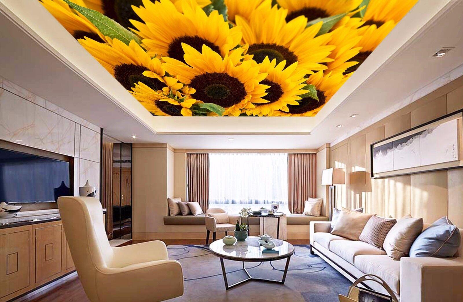 3D Sunflower 743 Ceiling WallPaper Murals Wall Print Decal Deco AJ WALLPAPER GB