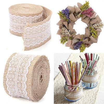 Vintage Natural Jute Burlap Hessian Ribbon lace Trim Table Wedding Decor