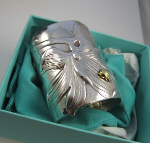 ed7fc4b2a2e09 Details about Tiffany & Co Stunning MAGNOLIA & BUG Sterling Silver 18K Gold  Wide Cuff Bracelet