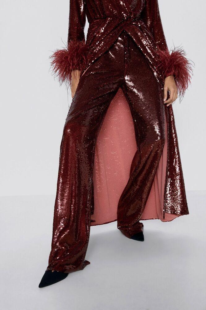 Zara Bordeaux à Paillettes Pantalon Taille Xs