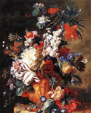 """Large Oil painting Jan van Huysum - Bouquet of Flowers in an Urn canvas 36"""""""
