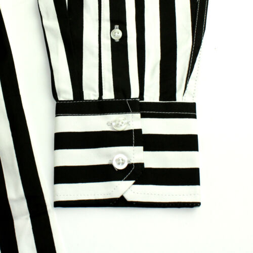 60s Relco Long Indie Shirt Black Striped Mens Retro Mod Skin White Sleeved FwFqPr