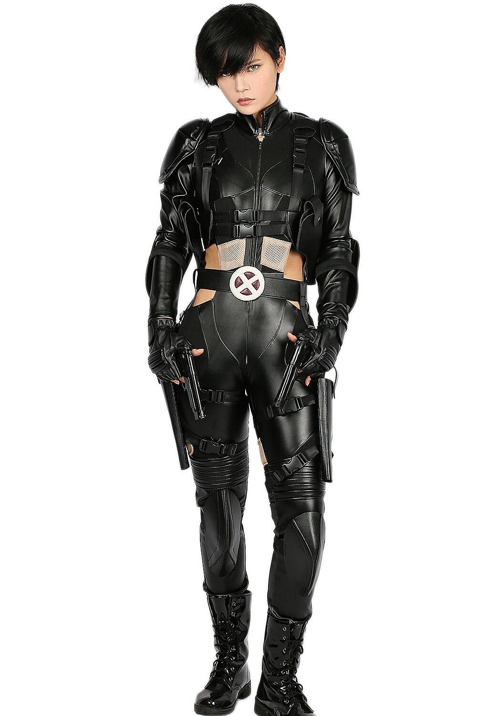 Deadpool 2 Domino Cosplay Costume Halloween Party Dress Full Bodysuit