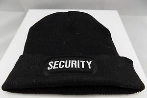 SECURITY-Cop-Guard-Patch-BLACK-Beanie-Knit-Cap-Hat-Motorcycle-BIKER-MC-BEA-0011