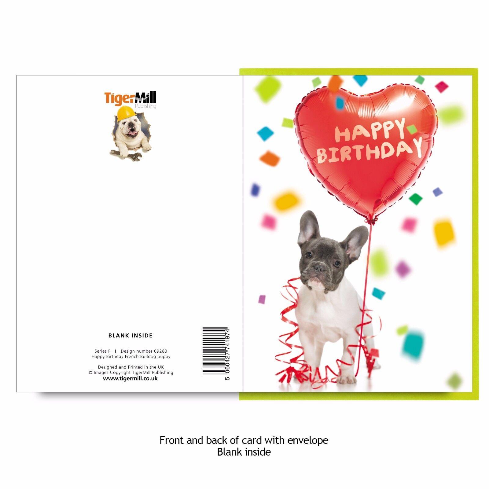 French Bulldog Puppy Dog With Heart Shaped Happy Birthday Balloon Greeting  Card