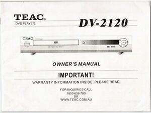 TEAC-DV-2120-DVD-Player-Owner-039-s-Manual-Good-Condition-FREE-POSTAGE