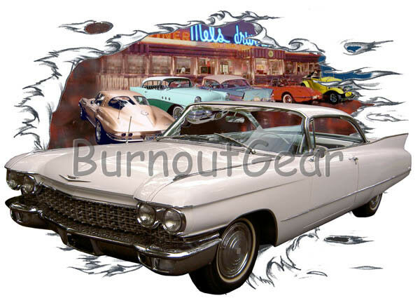 1960 bianca Cadillac Custom Hot Rod Diner Diner Diner T-Shirt 60 Muscle Car Tee's 88ccda