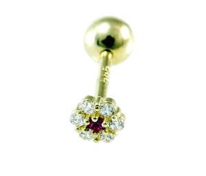 585 Gold Piercing  kleine Blume 4,0 mm mit Zirkonia Steinen und Rubin1,2mm Stift