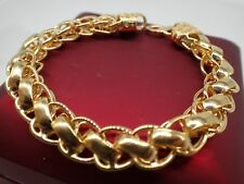Men Jewellery 18k Yellow Gold Solid Wide 12mm Crub Chain Women Bracelet 8 Inch