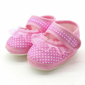 Newborn Infant Baby Casual Flat Girl  Lace Soft Sole Prewalker Shoes Anti-Slip N