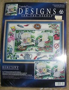 Woodland Patio Scene Bench Design for Needle Cross Stitch Sewing Kit 11x16 New