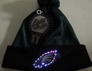 Philadelphia Eagles Hat LED Light up Logo NFL Winter Pom Beanie ... 0b04d8402b5