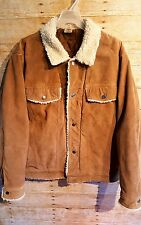 AUSTIN CLOTHING CO. Men's  100% Pig Split Leather Jacket Sherpa Fur Size Large