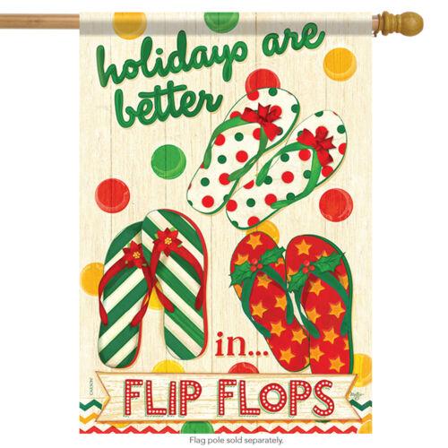 """Flip Flop Holidays House Flag Nautical Christmas Summer Beach 28/"""" x 40/"""""""
