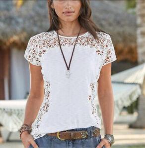 Sundance-Medium-White-Lace-Floral-Short-Sleeve-Top-Shirt