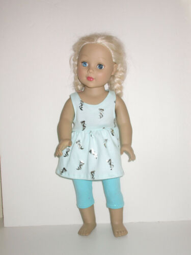 """Silver Mermaids//Sparkly Teal Capri Leggings for 18/"""" Doll Clothes American Girl"""