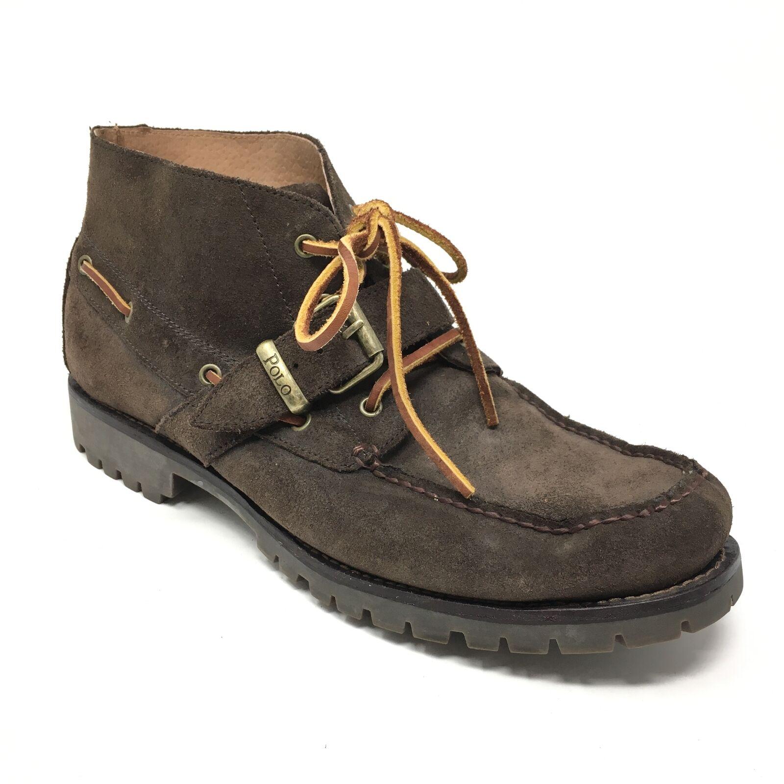 Para hombres Polo Ralph Lauren Zapatos botas al Tobillo Rumford tamaño 11D C1 Hebilla De Gamuza Marrón