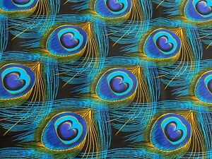 African Wax Peacock Feather Print Fabric 100% cotton, 44'' wide