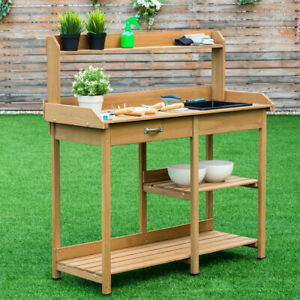 Sensational Details About Potting Table Bench Outdoor Indoor Work Station Garden Planting Wood Shelves Gmtry Best Dining Table And Chair Ideas Images Gmtryco