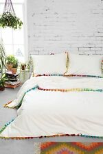 New Urban Outfitters Magical Thinking Pom-Fringe Duvet Cover White Queen 86 x 86