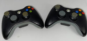 2,Official Microsoft Xbox 360 BLACK Wireless Controller Genuine  OEM Tested