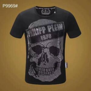 PHILIPP-PLEIN-Black-Skull-Beading-Men-Casual-T-shirt-P9969-Size-M-3XL