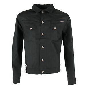 Nuevo-senores-Nudie-Raw-Denim-slim-fit-Jeans-chaqueta-Conny-dry-Black-Coated