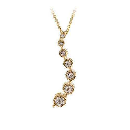 "18/"" Or 18K Sur Argent Diamant Accent Journey Collier"