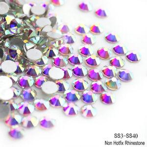 100 NonHotfix Flatback Glass Crystal Diamanté Rhinestones Light Siam AB