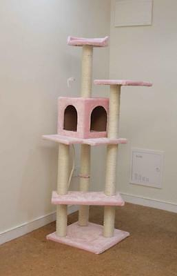 """New Pink 60"""" Cat Tree Condo Furniture Scratch Post Pet House P"""