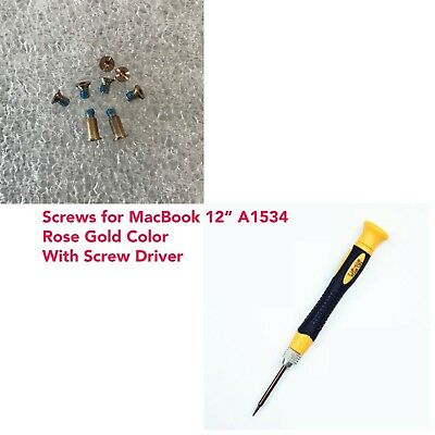 "MacBook 12/"" Retina Bottom Case Cover Screws /& Screw Driver Set A1534 Rose Gold"