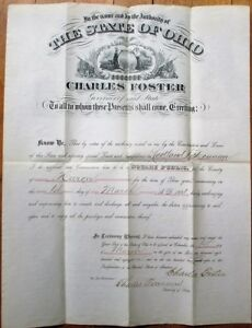 CHARLES-FOSTER-Ohio-Governor-1881-Autograph-Signed-American-Bank-Note-Document
