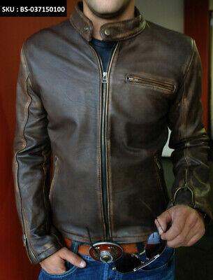 Men Biker Quilted Vintage Distressed Tan Cafe Racer Leather Jacket XS S M L XL