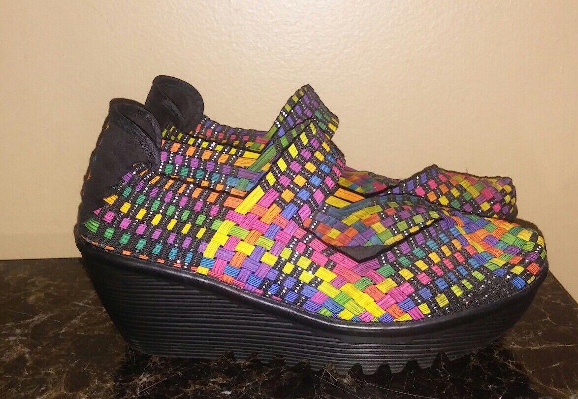 BM Bernie Mev Mary Jane Platform Wedge Basket Weave shoes EU Size 38