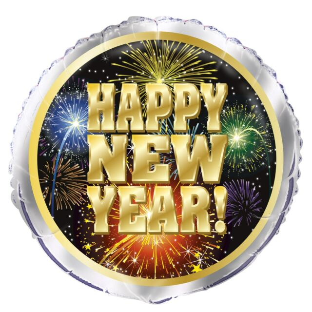 HAPPY NEW YEAR FIREWORKS NYE FOIL HELIUM BALLOON DECORATIONS PARTY SUPPLIES