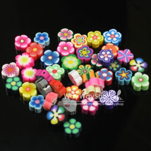 100 x mixed fimo Polymer Clay Flower Spacer Beads 8mm G