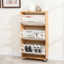 3 Drawer 12 Pair Shoe Storage Organizer Cabinet Entryway Stand Rack Shelf Wood