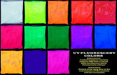PIGMENTO FLUORESCENTE REAZIONE UV ULTRAVIOLET POWDER GLOWING PIGMENT UV REACTION