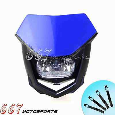 Motorbike Head Light Halogen Front Lamp For Kawasaki KLX KX ZZR ZX KSR 250V Blue